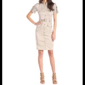Calvin Klein 10 khaki shirt dress roll sleeve